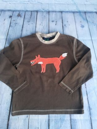 Mini Boden mink coloured long sleeved top with applique fox age 5-6